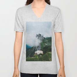 Flower Mountain in Switzerland - Landscape Photography Unisex V-Neck