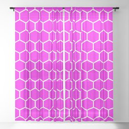 Honeycomb (White & Magenta Pattern) Sheer Curtain