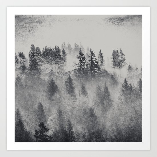 Black and White Charcoal Fog Forest Art Print