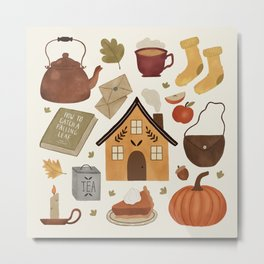 Autumn Cottage Days Metal Print
