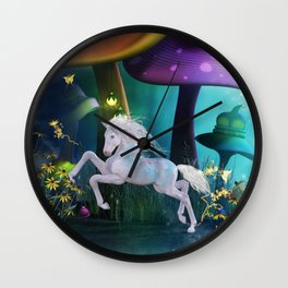 Cute little horse in the mushroom forrest Wall Clock