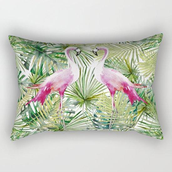 Aloha Flamingo Bird Animal in Jungle Rectangular Pillow