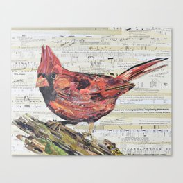 Cardinal / Red Bird Collage by C.E. White Canvas Print