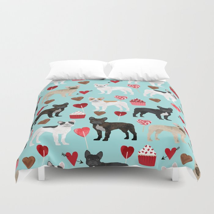English Bulldog Valentines Day Hearts Cupcakes Dog Pattern Gifts Breeds By Pet Friendly Duvet Cover