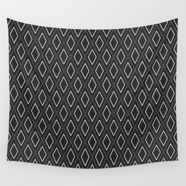 Black and White Abstract Rhombus Seamless Pattern Wall Tapestry