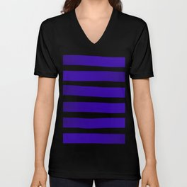 Blue Violet Indigo Ombre Stripes - Black Unisex V-Neck
