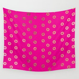 Elegant and Girly Faux Gold Glitter Dots Hot Pink Wall Tapestry