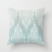 moroccan Throw Pillows featuring Lace & Shadows - soft sage grey & white Moroccan doodle by micklyn