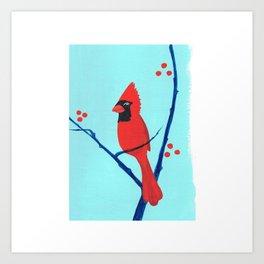 Cardinal Winter Berries Art Print