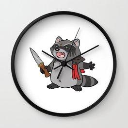 Warrior Raccoon Wall Clock