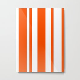 Mixed Vertical Stripes - White and Dark Orange Metal Print