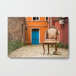 "Travel Photography ""street in Istanbul, Turkey, colorful houses with pink chair. Photo print.  Metal Print"