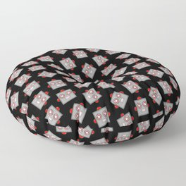 Retro Robot Heads Floor Pillow