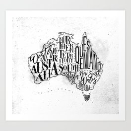 Map Australia vintage Art Print