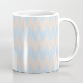 Baby Blue Peach Chevron Ripple Pattern 2021 Color of the Year Wild Blue Yonder Natural Tan Coffee Mug