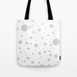 Mixed Polka Dots - Light Gray on White Tote Bag