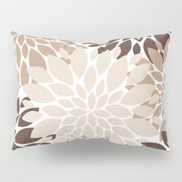 Floral Rosettes in Dark and Light Brown and Beige Pillow Sham
