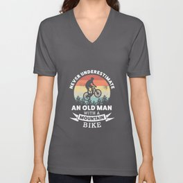 Old Man with a Mountain Bike | MTB Gift Unisex V-Neck
