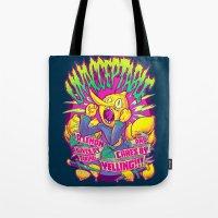 lemongrab Tote Bags featuring LEMONGRAB: UNACCEPTABLE by BeastWreck