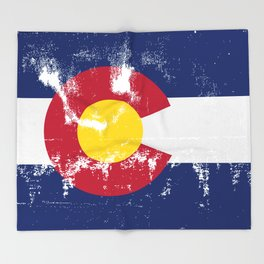 Colorado State Flag Grunge Throw Blanket