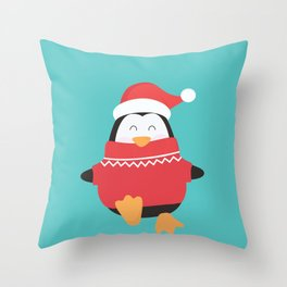 Little Penguin in Ugly Christmas Sweaters Throw Pillow