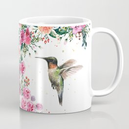 Hummingbird and Flowers Watercolor Animals Coffee Mug