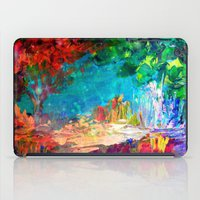 jazzberry iPad Cases featuring WELCOME TO UTOPIA Bold Rainbow Multicolor Abstract Painting Forest Nature Whimsical Fantasy Fine Art by EbiEmporium