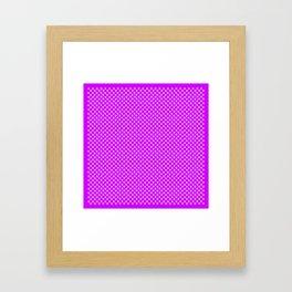 Tiny Paw Prints Pattern - Bright Magenta and White Framed Art Print