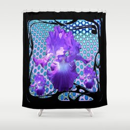 MODERN LILAC PURPLE IRIS BABY BLUE BLACK ART Shower Curtain