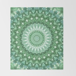 Emerald Green Mandala Throw Blanket