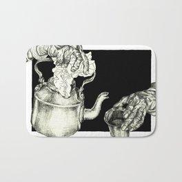 Geometric Black and White Drawing Tea Pot Time Bath Mat