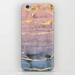 Watercolor Gradient Gold Foil iPhone Skin