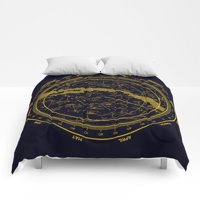 STARMAP 1 blue & gold Comforters