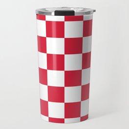 Red, Cherry: Checkered Pattern Travel Mug