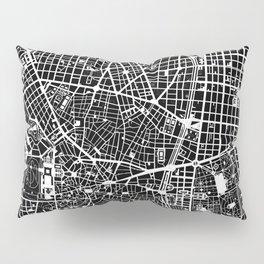 Madrid city map black&white Pillow Sham