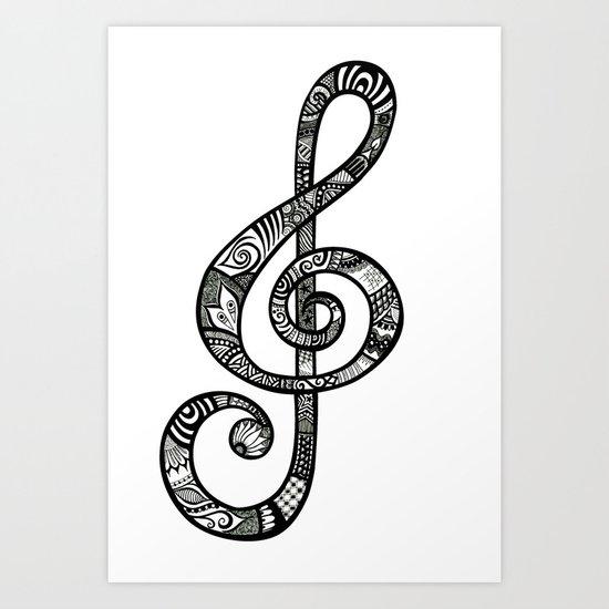 Treble Clef - ANALOG Zine submission Art Print