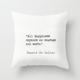 Honoré de Balzac quote Throw Pillow
