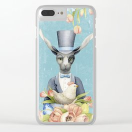 Beautiful Floral Flowers Animal Easter Bunny Clear iPhone Case
