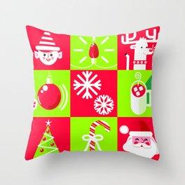 Christmas Grid Throw Pillow