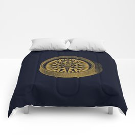 The golden compass I- maritime print with gold ornament Comforters