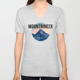 Mountaineer. Mountain climber. Gift ideas for mountaineers. Adventures. Mountaineering. Snowy peak Unisex V-Neck