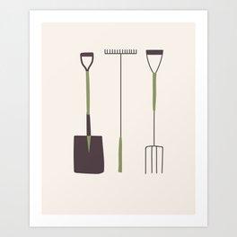 Large Garden Tools Art Print