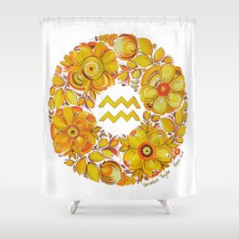 Aquarius in Petrykivka style Shower Curtain