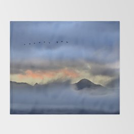 """""""Sunrise at the mountains"""". Birds in the morning. Throw Blanket"""