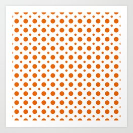Bright orange and white polka dots pattern Art Print
