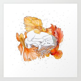 Cat and Golden Fishes Art Print