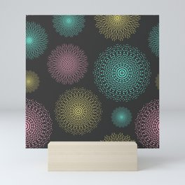 Lace mandala circles pastel colors on dark background Mini Art Print