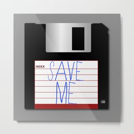 Message on the Floppy Metal Print