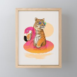 Chillin (Flamingo Tiger) Framed Mini Art Print