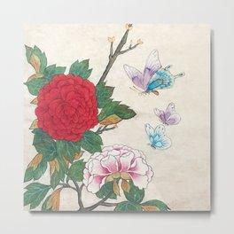 Minhwa: Peony and Butterflies (Korean traditional/folk art) Metal Print